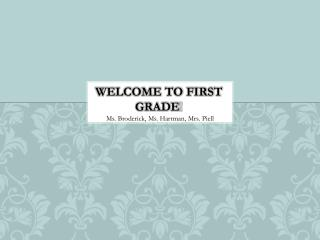 Welcome to First Grade !
