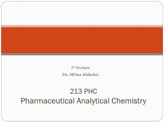 213 PHC Pharmaceutical Analytical Chemistry