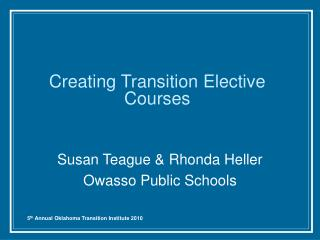 Creating Transition Elective Courses
