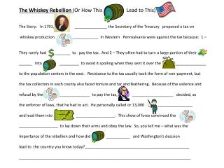 The Whiskey Rebellion  (Or How This                   Lead to This)