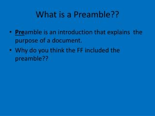 What is a Preamble??
