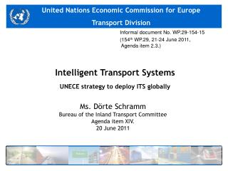 Intelligent Transport Systems UNECE strategy to deploy ITS globally