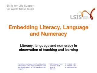 Embedding Literacy, Language and Numeracy