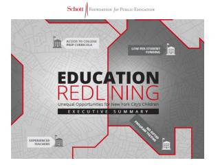 REDLINING EDUCATIONAL RESOURCES DISTRIBUTED IN  ACCORANCE WITH FAMILY INCOME.