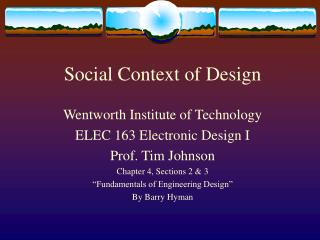 Social Context of Design