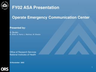FY02 ASA Presentation  Operate Emergency Communication Center