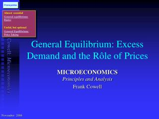General Equilibrium: Excess Demand and the R ô le of Prices