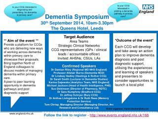 Dementia Symposium  30 th  September 2014, 10am-3.30pm The Queens Hotel, Leeds