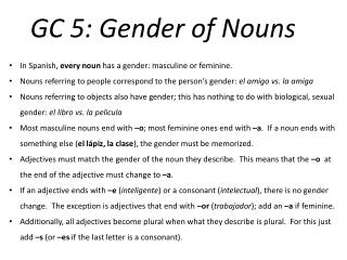 GC 5: Gender of Nouns
