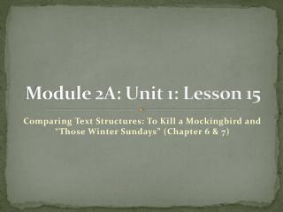 Module 2A: Unit 1: Lesson 15