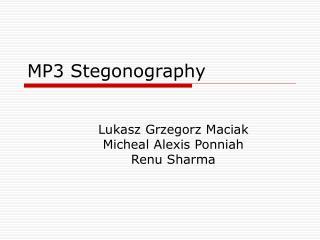 MP3 Stegonography