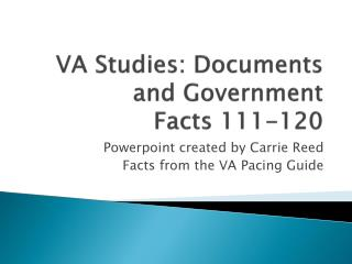 VA Studies: Documents and Government Facts 111-120