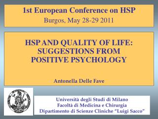 1st European Conference on HSP Burgos, May 28-29 2011