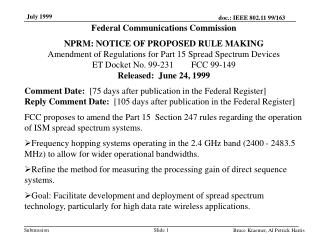 Federal Communications Commission NPRM: NOTICE OF PROPOSED RULE MAKING
