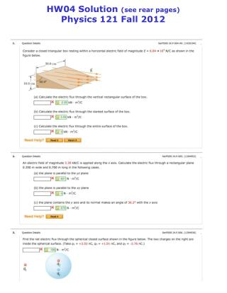 HW04 Solution  (see rear pages) Physics 121 Fall 2012