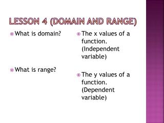 Lesson 4 (Domain and Range)