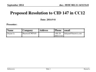 Proposed Resolution to CID 147 in CC12