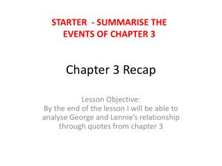 Chapter 3 Recap