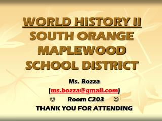 WORLD HISTORY II SOUTH ORANGE MAPLEWOOD SCHOOL DISTRICT