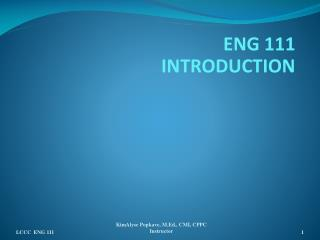 ENG 111 INTRODUCTION