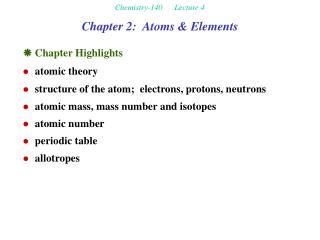 Chapter 2:  Atoms & Elements