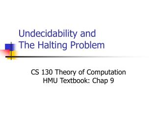 Undecidability and The Halting Problem