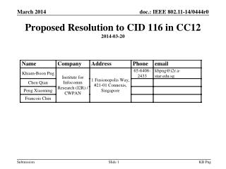 Proposed Resolution to CID 116 in CC12 2014-03-20