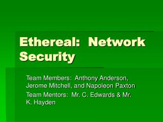 Ethereal:  Network Security