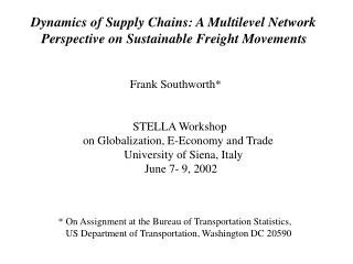 Dynamics of Supply Chains: A Multilevel Network