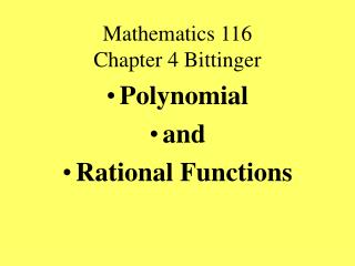 Mathematics 116  Chapter 4 Bittinger