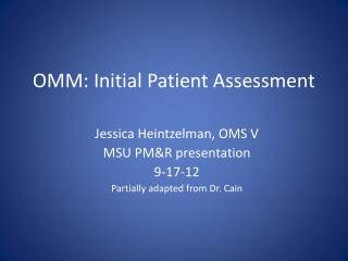 OMM: Initial Patient Assessment