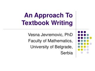 An Approach To Textbook Writing