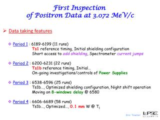First Inspection  of Positron Data  at  3.072 MeV/c