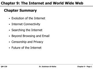 Chapter 9: The Internet and World Wide Web