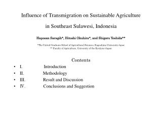 Influence of Transmigration on Sustainable Agriculture  in Southeast Sulawesi, Indonesia