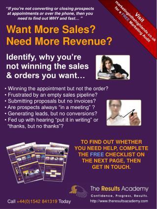 Selling Skills & Sales Training Audit