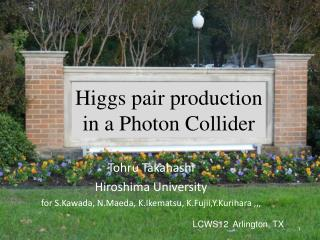 Higgs pair production  in a Photon Collider