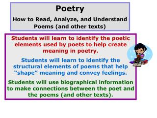 Poetry How to Read, Analyze, and Understand Poems (and other texts)