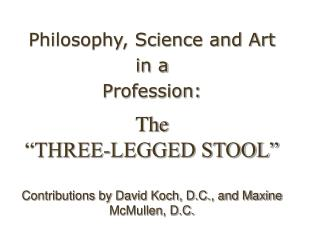 "The  ""THREE-LEGGED STOOL"" Contributions by David Koch, D.C., and Maxine McMullen, D.C."