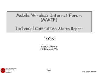 TSG-S Napa, California 20 January 2000