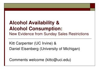 Alcohol Availability & Alcohol Consumption: New Evidence from Sunday Sales Restrictions