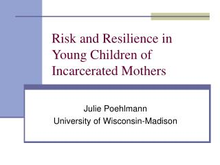 Risk and Resilience in Young Children of Incarcerated Mothers