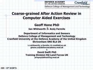 Coarse-grained After Action Review in  Computer Aided Exercises