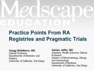 Practice Points From RA Registries and Pragmatic Trials
