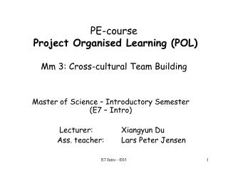 PE-course Project Organised Learning (POL) Mm 3: Cross-cultural Team Building