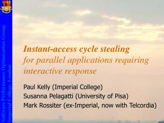 Instant-access cycle stealing  for parallel applications requiring interactive response