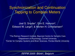 Synchronization and Continuation  Tapping to Complex Meters