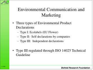 Environmental Communication and Marketing