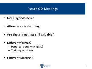 Future OIX Meetings