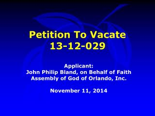 Petition To Vacate  13-12-029